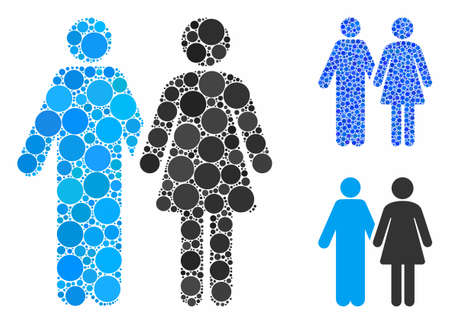 Married couple composition of spheric dots in variable sizes and color tones, based on married couple icon. Vector dots are composed into blue composition.