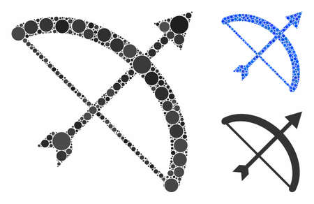 Archery bow composition of spheric dots in variable sizes and color tints, based on archery bow icon. Vector round dots are united into blue composition.