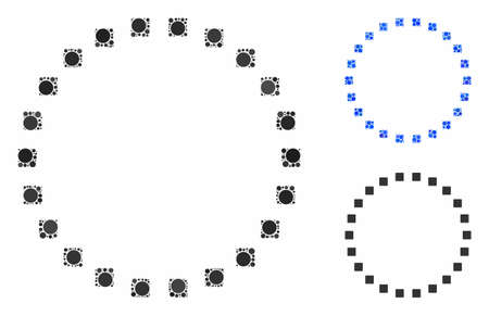 Dotted circle composition of spheric dots in variable sizes and color tones, based on dotted circle icon. Vector filled circles are composed into blue composition.