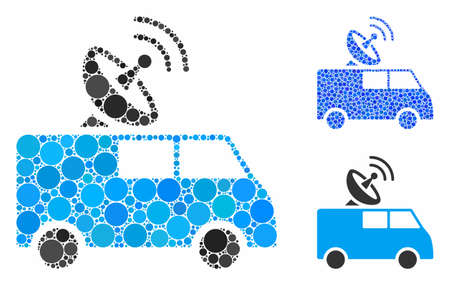 Radio control car composition of filled circles in different sizes and color tinges, based on radio control car icon. Vector filled circles are united into blue collage.