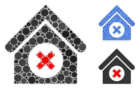 Delete building mosaic of small circles in different sizes and shades, based on delete building icon. Vector small circles are united into blue composition.