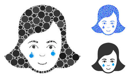 Crying woman face mosaic of small circles in variable sizes and color tints, based on crying woman face icon. Vector filled circles are combined into blue mosaic. Ilustração