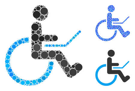 Wheelchair mosaic of circle elements in various sizes and color tinges, based on wheelchair icon. Vector circle elements are united into blue composition. Ilustrace