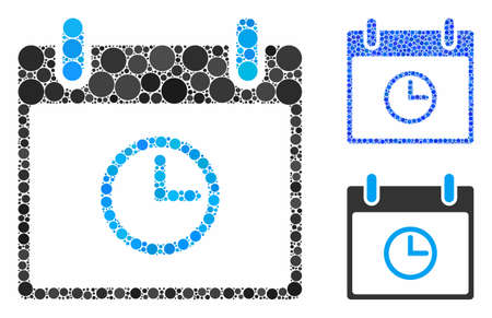Time calendar day mosaic of filled circles in various sizes and color tinges, based on time calendar day icon. Vector filled circles are combined into blue illustration. Ilustrace