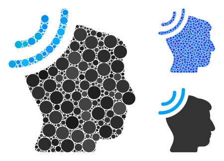Radio reception brain composition of filled circles in different sizes and color tints, based on radio reception brain icon. Vector circle elements are united into blue composition.