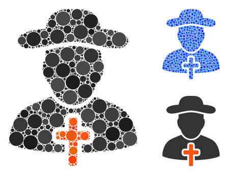 Cleric composition of filled circles in different sizes and shades, based on cleric icon. Vector filled circles are organized into blue mosaic. Dotted cleric icon in usual and blue versions.