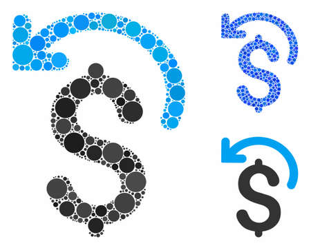 Undo payment mosaic of small circles in variable sizes and color tinges, based on undo payment icon. Vector small circles are grouped into blue composition.