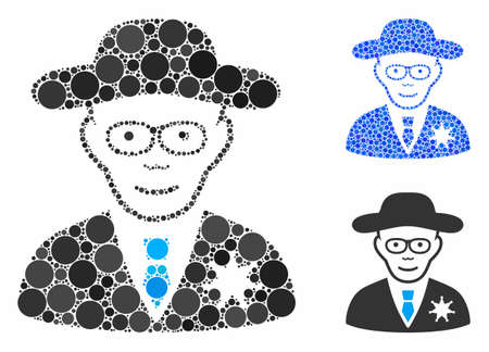 Sheriff mosaic of circle elements in variable sizes and color tinges, based on sheriff icon. Vector random circles are united into blue mosaic. Dotted sheriff icon in usual and blue versions.