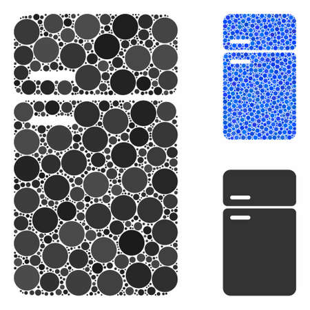 Refrigerator mosaic of spheric dots in different sizes and color tones, based on refrigerator icon. Vector dots are organized into blue mosaic. Dotted refrigerator icon in usual and blue versions.