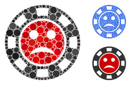 Pity casino chip mosaic of round dots in different sizes and color hues, based on pity casino chip icon. Vector round dots are combined into blue mosaic. Иллюстрация