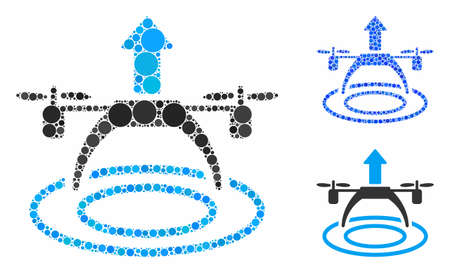 Copter start mosaic of circle elements in different sizes and shades, based on copter start icon. Vector circle elements are composed into blue mosaic. Illusztráció