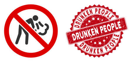 Vector no vomit icon and distressed round stamp seal with Drunken People caption. Flat no vomit icon is isolated on a white background. Drunken People stamp seal uses red color and distress design. Ilustração