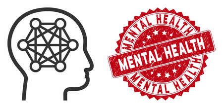 Vector human brain icon and corroded round stamp seal with Mental Health phrase. Flat human brain icon is isolated on a white background. Mental Health stamp seal uses red color and dirty surface. Иллюстрация
