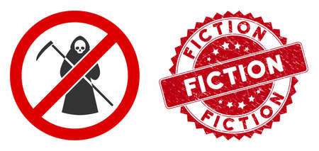 Vector no scytheman icon and rubber round stamp seal with Fiction text. Flat no scytheman icon is isolated on a white background. Fiction stamp seal uses red color and rubber texture. Illusztráció