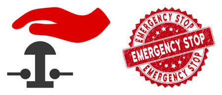 Vector emergency stop icon and corroded round stamp seal with Emergency Stop caption. Flat emergency stop icon is isolated on a white background.