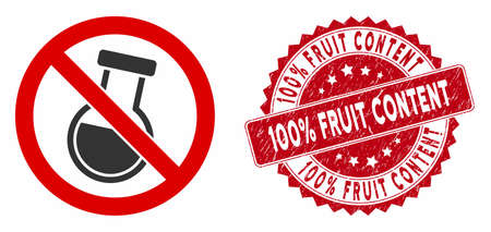 Vector no chemical retort icon and grunge round stamp seal with 100% Fruit Content caption. Flat no chemical retort icon is isolated on a white background.