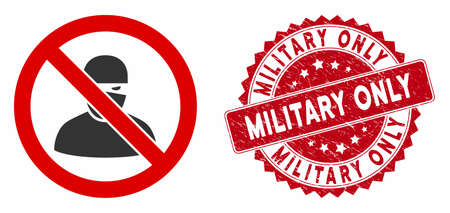 Vector no ninja icon and grunge round stamp seal with Military Only phrase. Flat no ninja icon is isolated on a white background. Military Only stamp seal uses red color and grunge design. Stock Illustratie