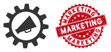 Vector marketing automation icon and rubber round stamp seal with Marketing caption. Flat marketing automation icon is isolated on a white background. Marketing seal uses red color and rubber design. Illusztráció