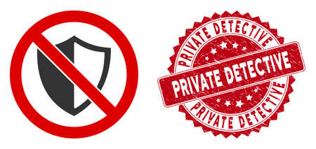 Vector no shield icon and rubber round stamp watermark with Private Detective caption. Flat no shield icon is isolated on a white background. Illustration