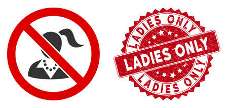 Vector no girls icon and rubber round stamp seal with Ladies Only phrase. Flat no girls icon is isolated on a white background. Ladies Only stamp uses red color and rubber surface.