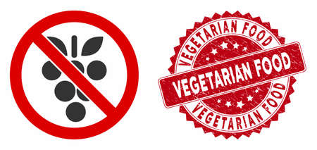 Vector no grapes icon and rubber round stamp seal with Vegetarian Food text. Flat no grapes icon is isolated on a white background. Vegetarian Food stamp seal uses red color and rubber design. Stock Illustratie