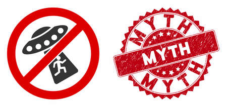 Vector no UFO abduction icon and rubber round stamp seal with Myth caption. Flat no UFO abduction icon is isolated on a white background. Myth stamp uses red color and rubber texture.