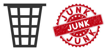 Vector junk icon and rubber round stamp seal with Junk caption. Flat junk icon is isolated on a white background. Junk stamp seal uses red color and dirty texture.