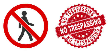 Vector no trespassing icon and grunge round stamp seal with No Trespassing text. Flat no trespassing icon is isolated on a white background. No Trespassing seal uses red color and grunge surface. Çizim