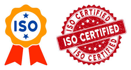 Vector ISO certified icon and rubber round stamp seal with ISO Certified caption. Flat ISO certified icon is isolated on a white background. ISO Certified stamp seal uses red color and rubber design.