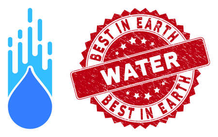 Vector falling drop icon and corroded round stamp seal with Best in Earth Water caption. Flat falling drop icon is isolated on a white background. Ilustração