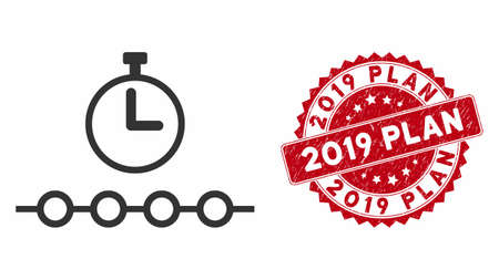 Vector marked timeline icon and corroded round stamp seal with 2019 Plan phrase. Flat marked timeline icon is isolated on a white background. 2019 Plan stamp uses red color and grunge surface. Ilustrace