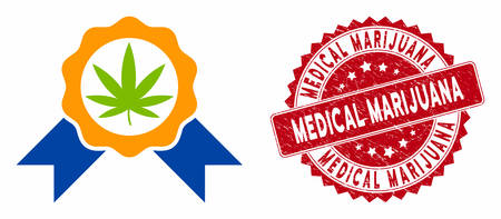 Vector cannabis legalize icon and distressed round stamp seal with Medical Marijuana text. Flat cannabis legalize icon is isolated on a white background.