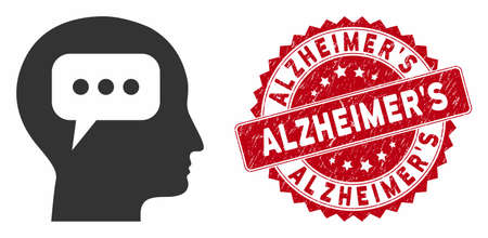 Vector head opinion icon and distressed round stamp seal with Alzheimers phrase. Flat head opinion icon is isolated on a white background. Alzheimers stamp seal uses red color and distress surface.
