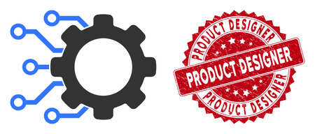 Vector digital gearwheel icon and rubber round stamp seal with Product Designer text. Flat digital gearwheel icon is isolated on a white background.
