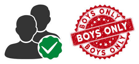Vector boys only icon and rubber round stamp seal with Boys Only phrase. Flat boys only icon is isolated on a white background. Boys Only stamp seal uses red color and rubber surface. Illusztráció