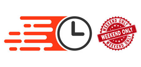 Vector speed time icon and grunge round stamp watermark with Weekend Only caption. Flat speed time icon is isolated on a white background. Weekend Only stamp uses red color and grunge design.