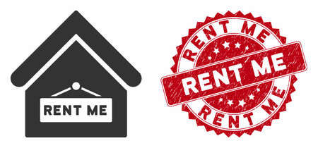 Vector rent me icon and distressed round stamp seal with Rent Me caption. Flat rent me icon is isolated on a white background. Rent Me stamp seal uses red color and grunged texture. Illusztráció