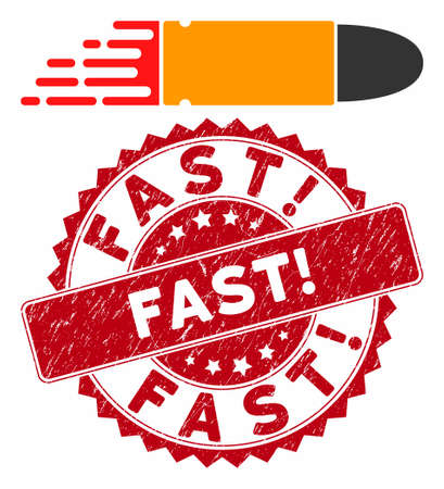 Vector rush bullet icon and distressed round stamp watermark with Fast! text. Flat rush bullet icon is isolated on a white background. Fast! stamp seal uses red color and grunge texture.