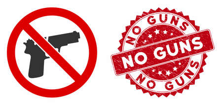 Vector no guns icon and grunge round stamp seal with No Guns caption. Flat no guns icon is isolated on a white background. No Guns seal uses red color and grunge surface.
