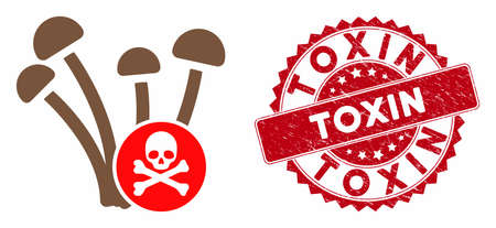 Vector fungicide icon and grunge round stamp seal with Toxin phrase. Flat fungicide icon is isolated on a white background. Toxin stamp uses red color and grunge surface.