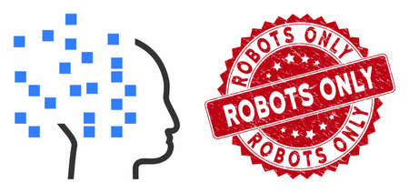 Vector digital thinking icon and grunge round stamp seal with Robots Only phrase. Flat digital thinking icon is isolated on a white background.