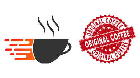 Vector express coffee icon and grunge round stamp watermark with Original Coffee text. Flat express coffee icon is isolated on a white background. Иллюстрация