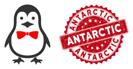 Vector penguin bow icon and corroded round stamp seal with Antarctic caption. Flat penguin bow icon is isolated on a white background. Antarctic stamp seal uses red color and grunged design.