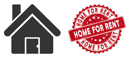 Vector house icon and grunge round stamp seal with Home for Rent text. Flat house icon is isolated on a white background. Home for Rent seal uses red color and grunge surface. Illustration