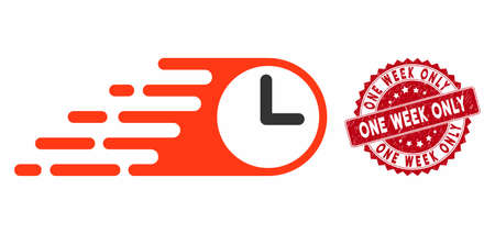 Vector rush clock icon and grunge round stamp watermark with One Week Only caption. Flat rush clock icon is isolated on a white background. One Week Only stamp uses red color and grunge design. Иллюстрация