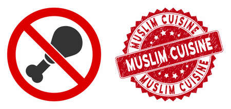 Vector no chicken leg icon and grunge round stamp seal with Muslim Cuisine text. Flat no chicken leg icon is isolated on a white background. Muslim Cuisine stamp uses red color and grunge surface.