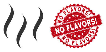 Vector aroma steam icon and grunge round stamp seal with No Flavors! caption. Flat aroma steam icon is isolated on a white background. No Flavors! stamp seal uses red color and grunge design.
