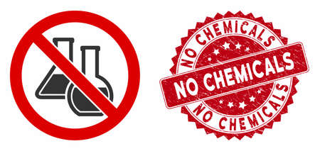 Vector no chemicals icon and grunge round stamp seal with No Chemicals caption. Flat no chemicals icon is isolated on a white background. No Chemicals stamp seal uses red color and dirty surface.