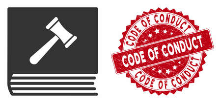 Vector code of conduct icon and distressed round stamp seal with Code of Conduct phrase. Flat code of conduct icon is isolated on a white background. Illustration