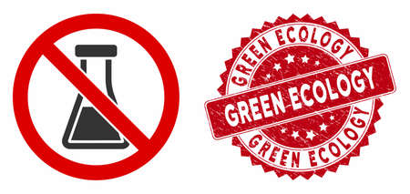 Vector no chemical substance icon and rubber round stamp seal with Green Ecology text. Flat no chemical substance icon is isolated on a white background. Stock Illustratie